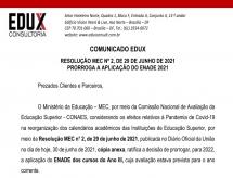 A EDUX Consultoria emite comunicado sobre a Resolução Nº 2, de 29/06/2021 que prorroga a aplicação do ENADE 2021