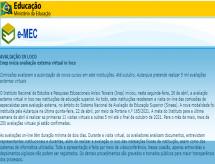 INEP emite comunicado, na caixa de mensagens do Sistema e-MEC, sobre o início e previsão das Avaliações Externas Virtuais in loco