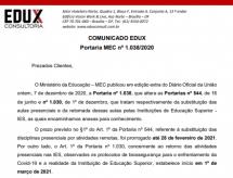 EDUX Esclarece o teor da Portaria MEC nº 1.038/2020