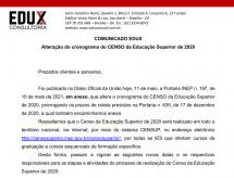 A EDUX Consultoria emite comunicado sobre a alteração do cronograma do CENSO da Educação Superior de 2020