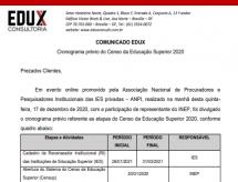 EDUX emite informe sobre o cronograma de coleta de dados do Censo da Educação Superior 2020