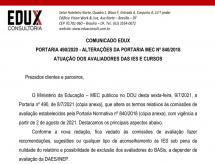 A EDUX Consultoria emite comunicado sobre a Portaria 490/2020 que trata sobre as alterações da Portaria MEC nº 840/2018 da atuação dos avaliadores das IES e Cursos