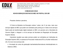 A EDUX Consultoria emite informe sobre os novos serviços digitais do MEC no PORTAL GOV.BR