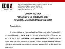 EDUX emite informe sobre a Portaria INEP nº 165/2021, que institui a Avaliação Externa Virtual in loco