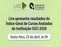 INEP realizará, nesta sexta-feira (23/04) às 9:00 horas, uma Live para a divulgação dos resultados do IGC 2019
