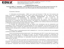 A EDUX Consultoria emite informe sobre a Portaria nº 796 MEC que dispõe o Sobrestamento dos processos de Recredenciamento, Reconhecimento e Renovação de Reconhecimento