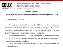 A EDUX Consultoria emite comunicado sobre os novos normativos da Comissão Técnica de Acompanhamento de Avaliação - CTAA