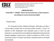 EDUX emite informe sobre a Portaria MEC nº 1.038/2020, que dispõe sobre o retorno das aulas presenciais em caráter excepcional para utilização de recursos educacionais digitais